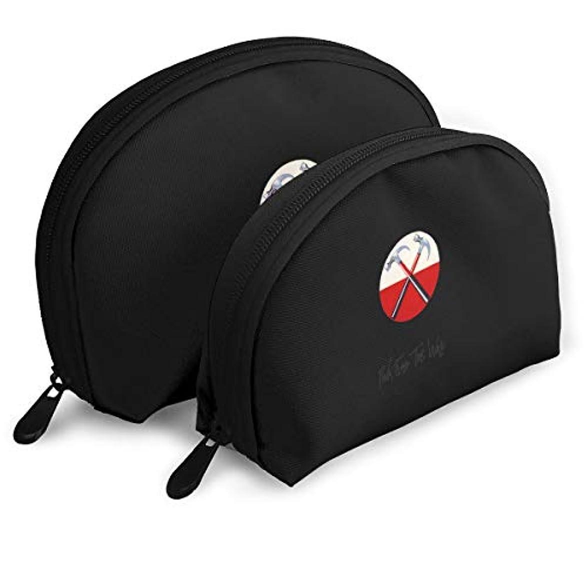 可能ショートカットトリップ化粧ポーチ 2点セット 半円形ポーチ トラベルポーチ ピンクフロイド メイクポーチ バッグインバッグ 親子ポーチ レディース 旅行も便利 大容量 軽い 化粧品 収納 筆箱 多機能 高級感