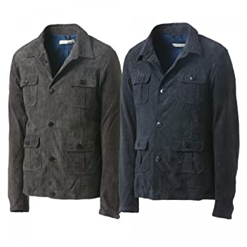 Dacute Goatskin Safari Jacket: Grey, Navy
