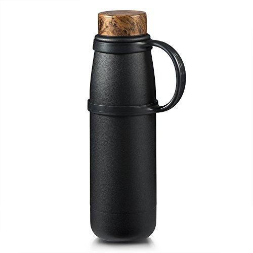 Love-KANKEI® 水筒 マグボトル 500ML 真空断熱 保熱保冷 ミニボトル 持ち手が付き 携帯便利 氷が入れやすい広口タイプ ブラック