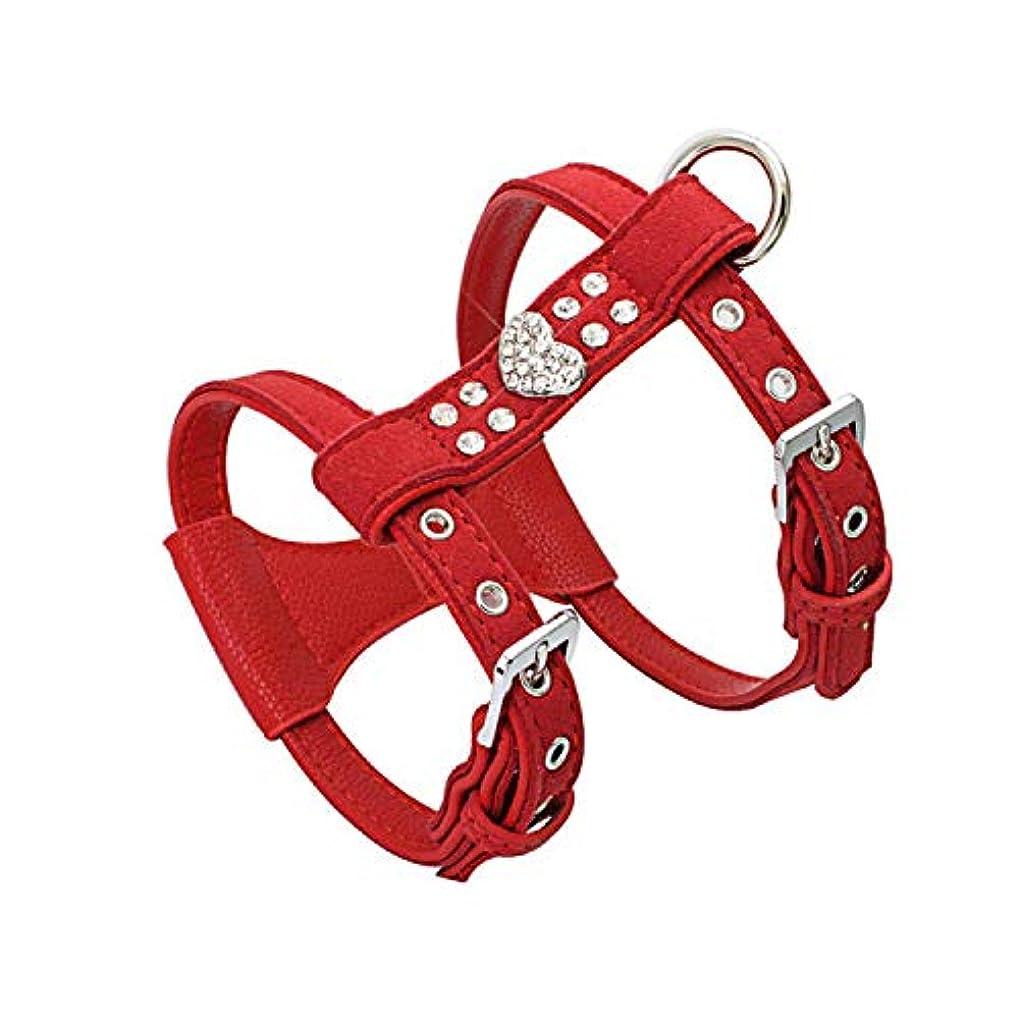 後世専門用語虐殺ペットチェストストラップ輝くラインストーンハートデザインベストハーネスソフト快適な小型犬子犬猫皮革リーシュペット用品-赤-M