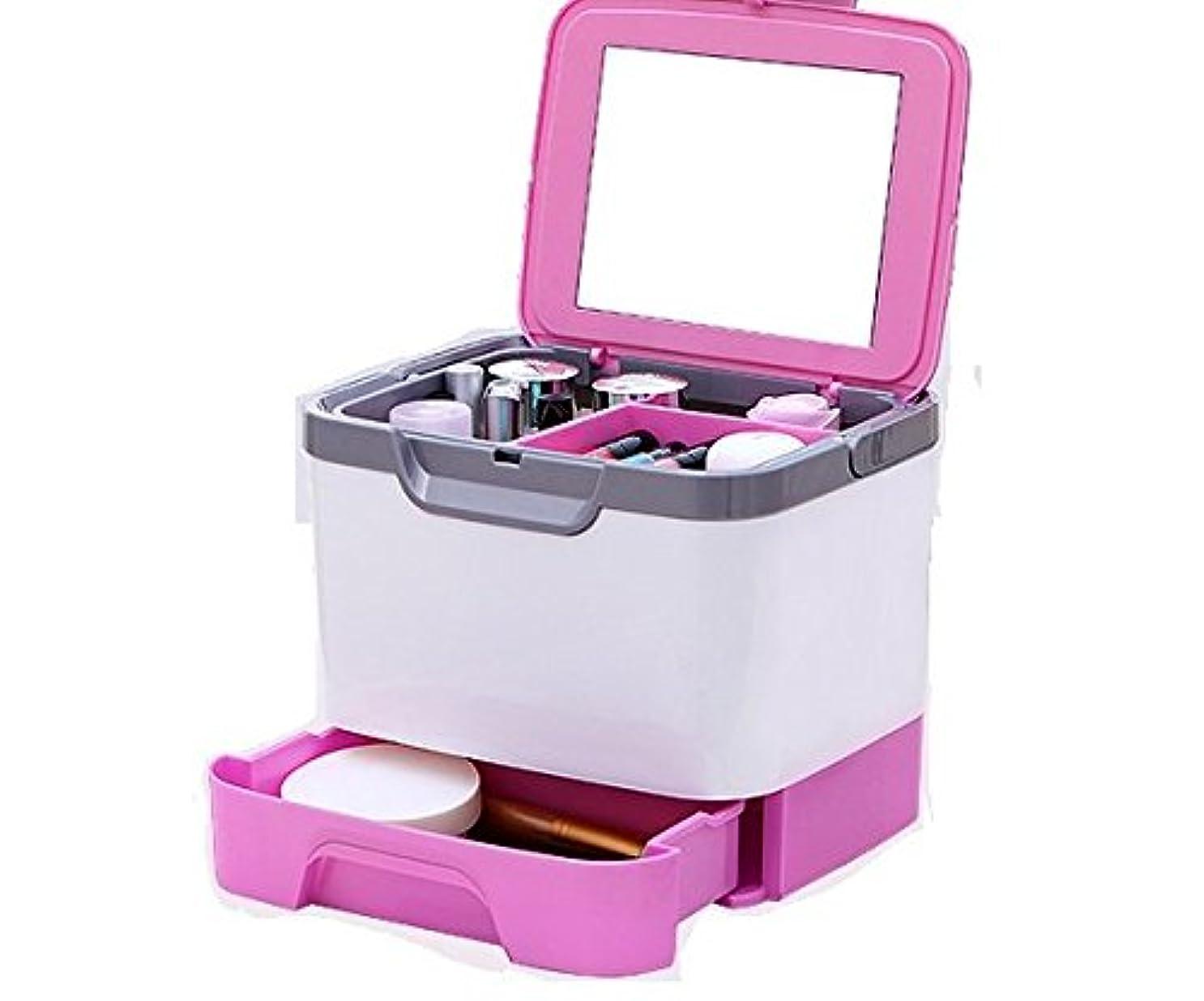 依存するリーフレット厄介なメイクボックス 大容量 かわいい 鏡付き プロも納得 コスメの収納に (ピンク、ブルー、グリーン)