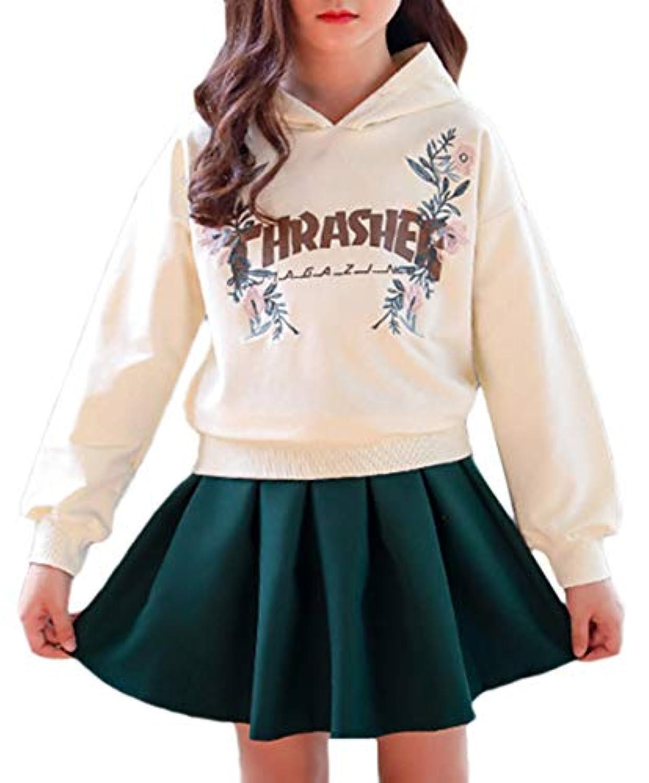 Bevalsaガールズ 上下2点セット パーカー スカート セットアップ 韓国ファッション スウエット 春秋 子供服 女の子 カジュアルウエア 通学 スポーツウエア
