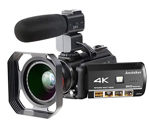 ビデオカメラ Ansteker 4K 1300万画素 WIFI機能 赤外線ナイトビジョン搭載 30倍ズーム 3インチタッチパネル