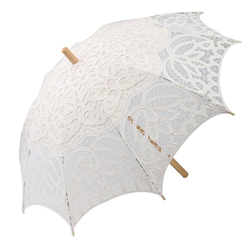 Dovewill  レース調 日傘 長傘 木製ハンドル 結婚式 会場 装飾 ホワイト