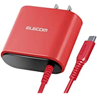 エレコム 充電器 ACアダプター USB Type C 折畳式プラグ (2.4A出力) 1.5m レッド