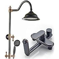 シャワーセットユニバーサルビンテージミキサーシャワーセットハンドヘルド/ホース/ライザーレール銅ブラックゴールド8