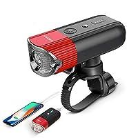 SHENKEYバイクライトUSB充電式自転車ライト+パワーバンク、バイク用スーパーブライトIP65防水ヘッドライト/レッド(レッド)