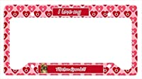 キャロラインはでLH9169LPF 12×6宝物。チベットスパニエルバレンタイン愛と心のナンバープレートフレーム