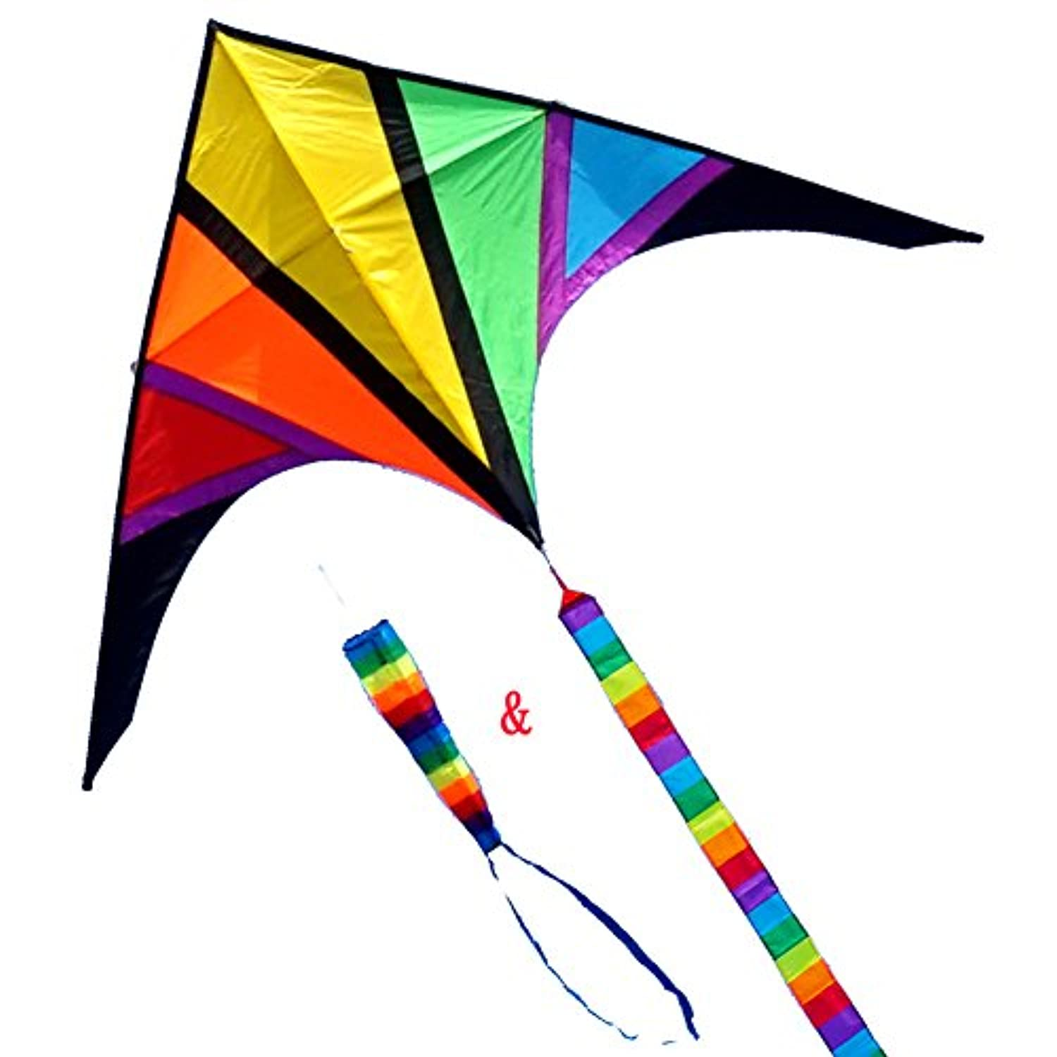 (110inch) - Besra 280cm Rainbow Delta Kite with windsock & 10m long Tail for Kids and Adults Outdoor Fun Sports for Beach & Park
