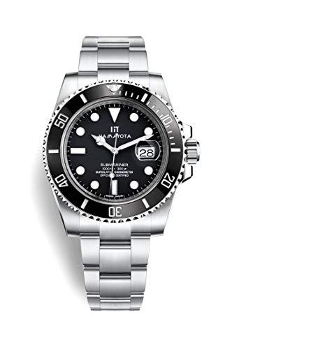 HAMAYOTA 腕時計 サブマリーナ メンズ 自動巻き 日本製ムーブメント 316L (黒)