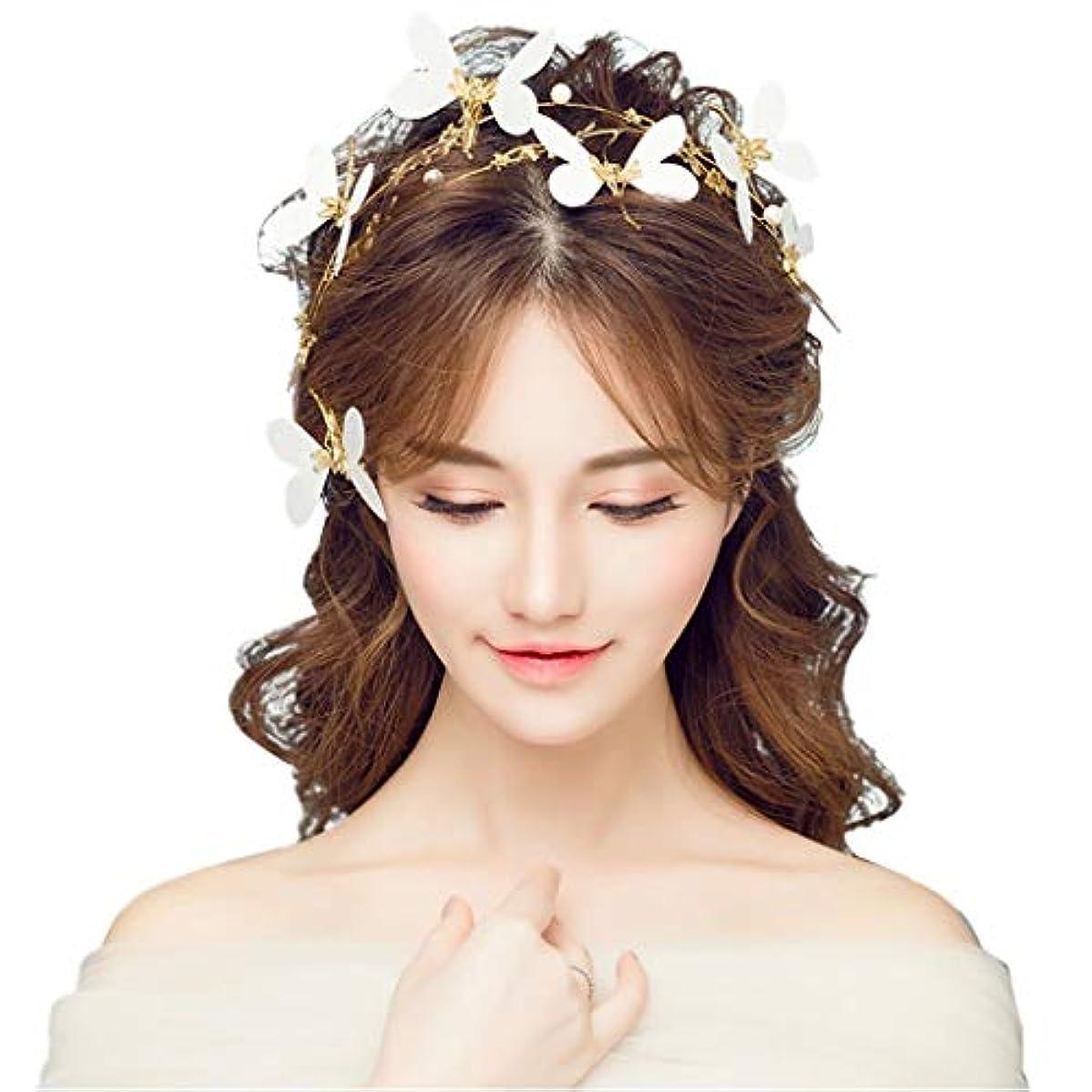 用心象無声で手作りのガーランド、ブライダルヘッドドレススーパー妖精ヘッド小さな蝶ヘッドドレスパールラインストーンジュエリー結婚式のアクセサリーヘアアクセサリー付きパールフラワーウェディング、パーティー