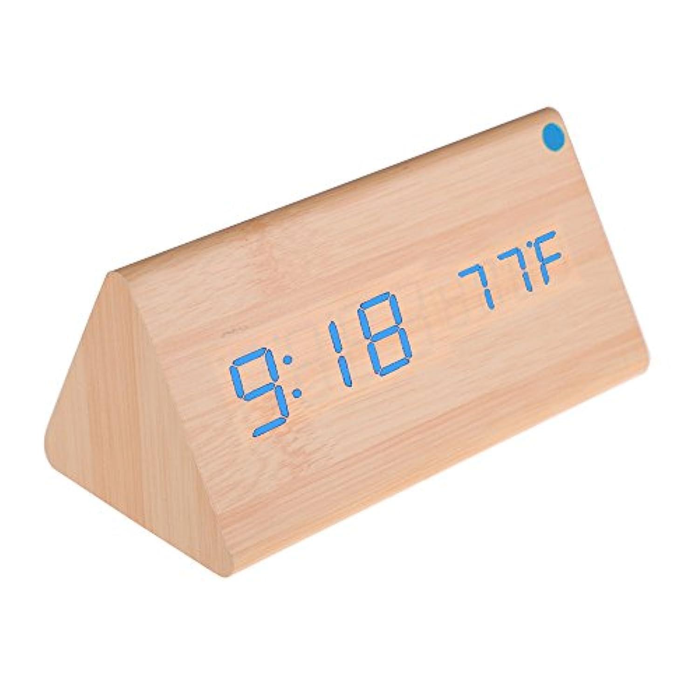 LED目覚まし時計 デジタル時計 木製 置き時計 クロック アラーム カレンダー 温度表示付き 多機能 USB給電 音声制御 ウッド 木目調 装飾 飾り ギフト 贈り物 ナチュラル風 おしゃれ バンブー+ブルーライト 2731 Matefieldjp