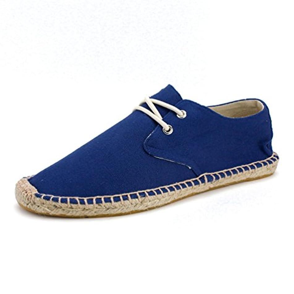 ここに眼棚スリッポン エスパドリーユ メンズ スニーカー 可愛い キャンバス 綿麻 男性 草鞋  フラットヒール 24.5cm-27cm ベージュ ライトブルー ダックグレー