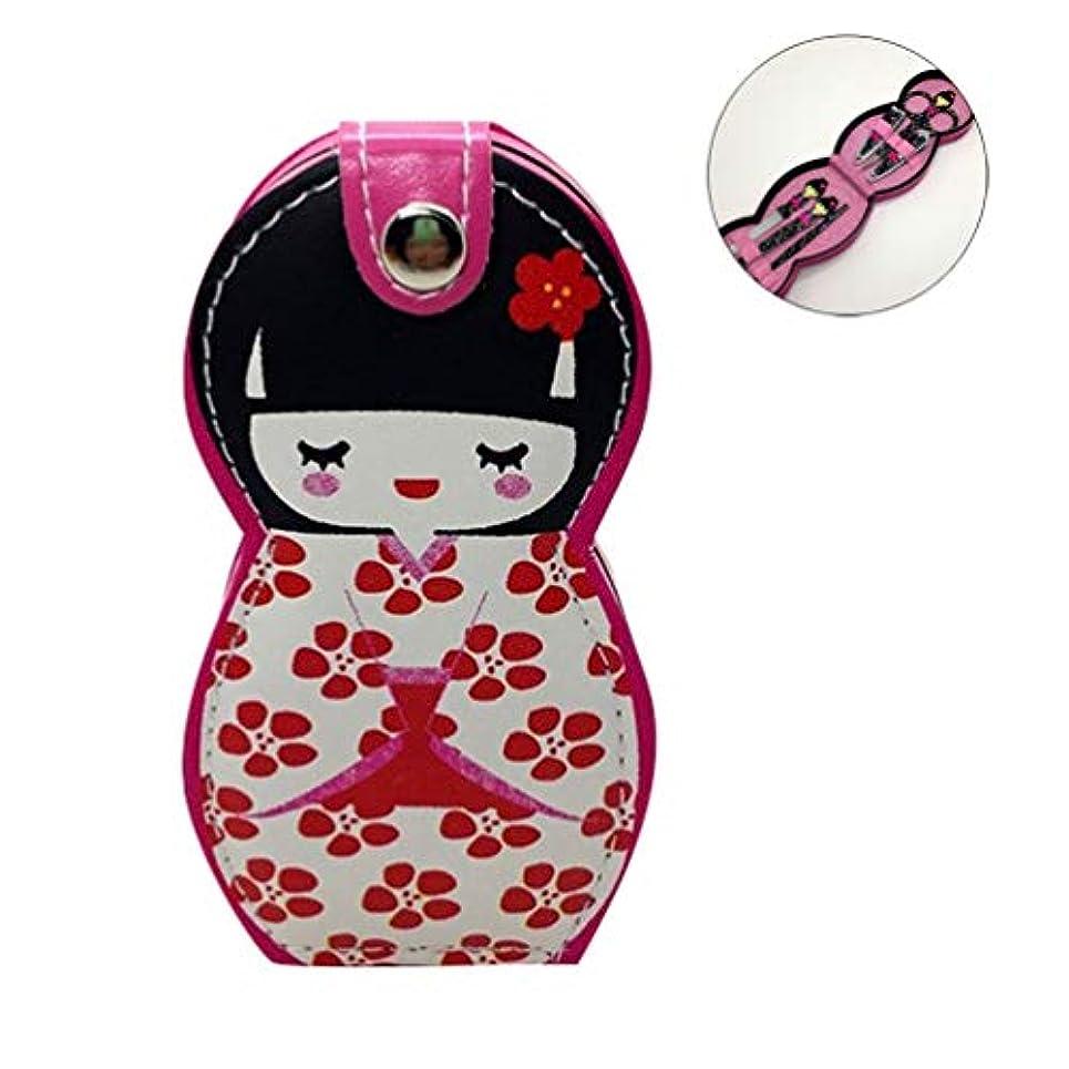 母卵高価なHongma ネイルケアセット マニキュアセット 可愛い 日本人形 ロシア人形 グルーミングキット 爪やすり 爪切りセット 携帯便利 収納ケース付き (日本人形ピンク花柄)