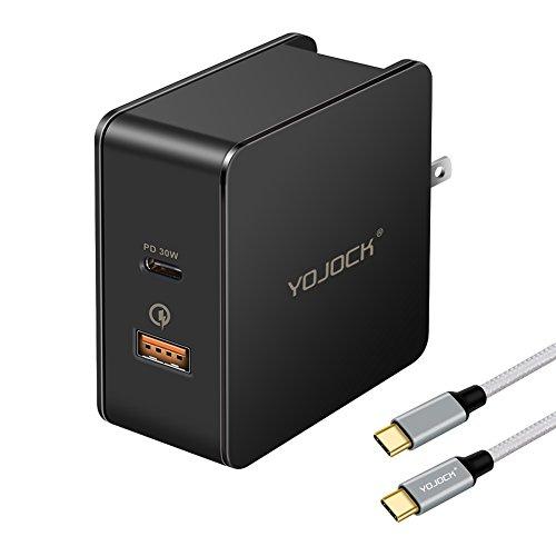 USB Power Delivery 充電器 30W USB-C PD 急速 + USB QC3.0 充電器 ACアダプター (180cm USB C to C ケーブル付) Nintendo Switch、Xperia XZ2、iPhone X、Macbook、Samsung Galaxy S9/S8/Note 8 、Google Pixelなど対応