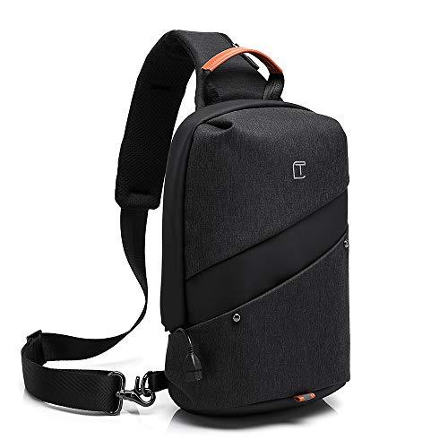 [NOSYU] ボディバッグ メンズ 防水 iPad収納可能 (ブラック)