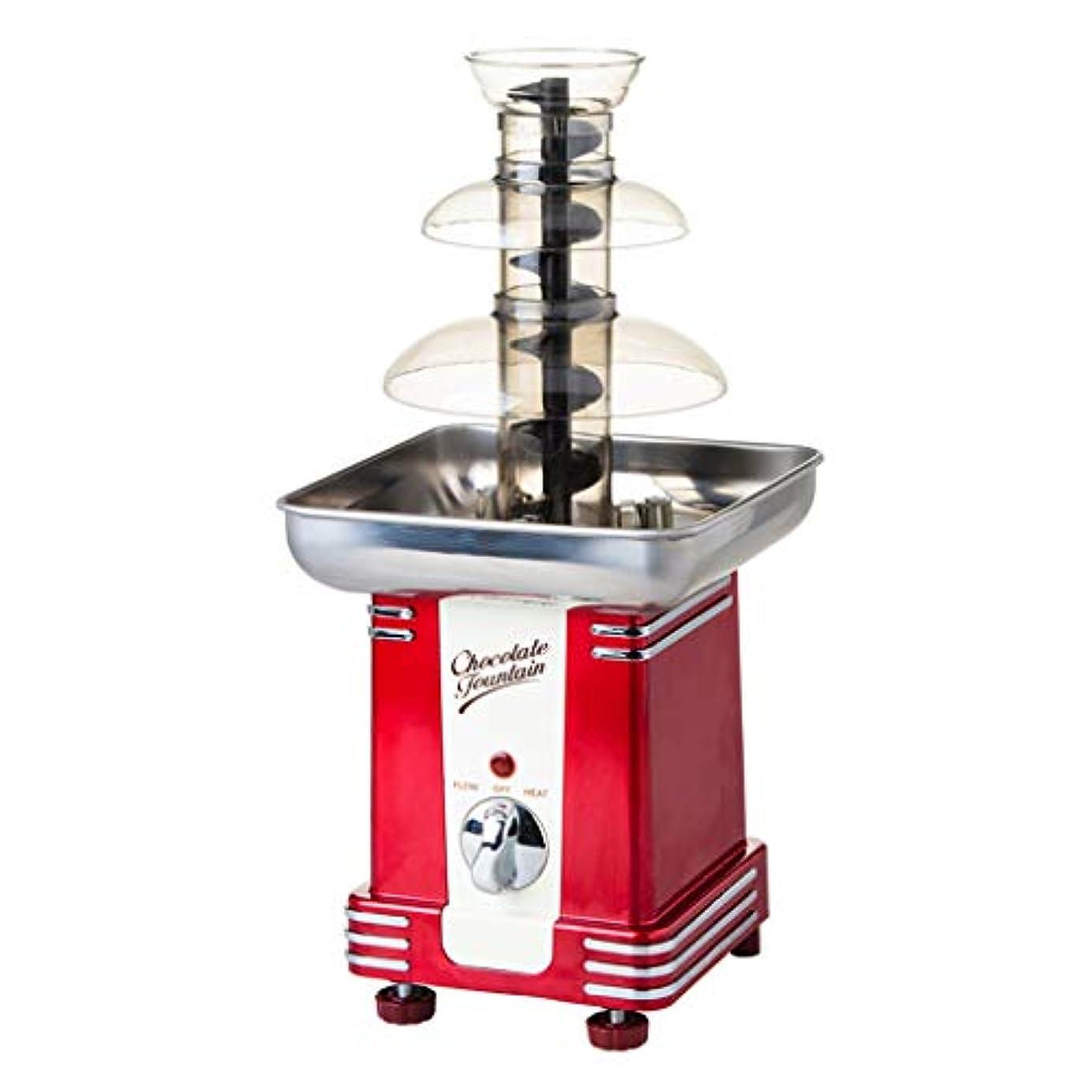 破壊的な悪用悲しむ3層ミニ電気チョコレートの噴水、コンパクト卓上デザイン、ダイヤルを使用するのは簡単、赤いホーム多機能メタル自動滝機