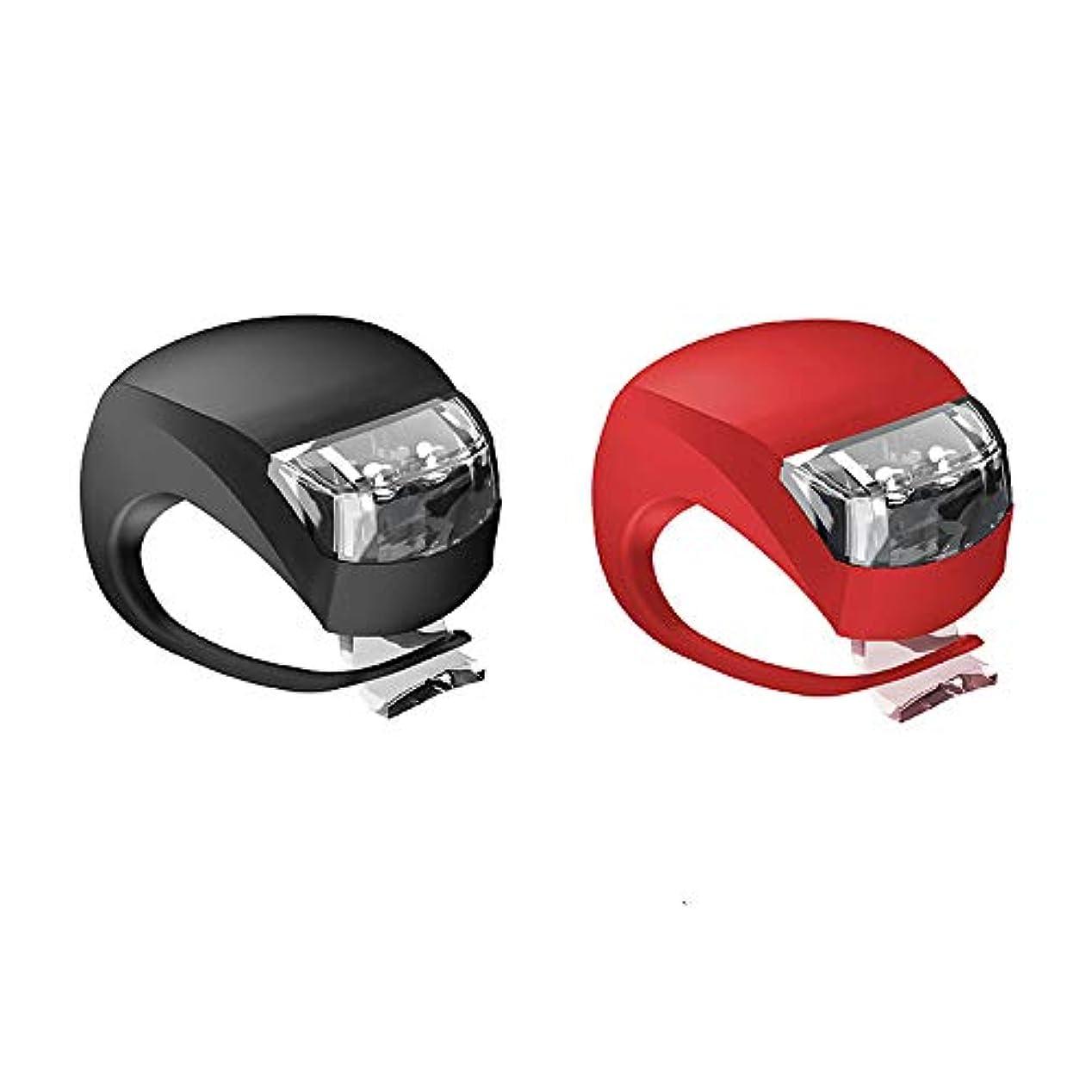 刑務所学習者増幅器1st market 2個小型で実用的なLEDクリップ式シリコンバンド自転車照明ライト(赤と黒)