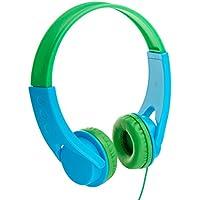 Amazonベーシック 子供用オンイヤーヘッドホン 音量リミット制御 ブルー/グリーン