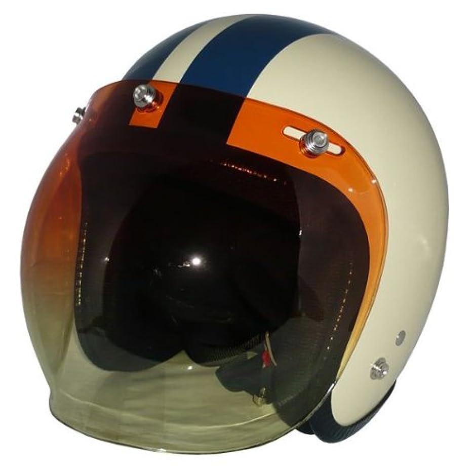 有限鋭く拒否バイク ヘルメット スモールジェット(アイボリー/ネイビー)+グラデーションアンバーシールド 2点セット SG公認 全排気量対応