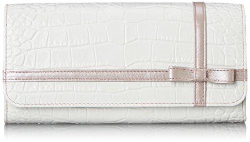 [ルエゴ] クロコ型押し クロスリボン長財布 LWCR-11 ホワイト×ピンク