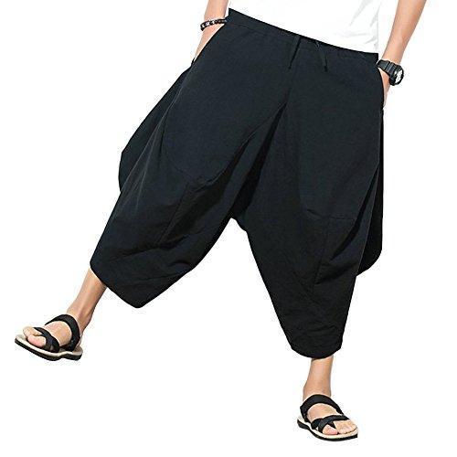 Mirroryou ワイドパンツ メンズ サルエルパンツ 無地 カジュアル ガウチョパンツ 9分丈 ゆったり 大きいサイズ キレイめ 春夏