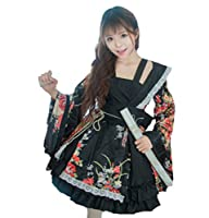 【Blue Hope】 花魁 コスプレ 衣装 和風 ドレス 着物 芸者 舞妓 仮装 ロリータ洋服 (ブラック, L)
