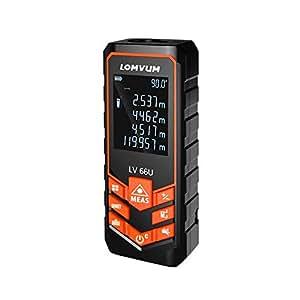 LOMVUM レーザー距離計 携帯型 距離測定器 単一距離測定/連続測定/面積/体積/ピタゴラス直接測定/ピタゴラス間接測定 自動計算 コンパクト 校正機能 日本語説明書付き (120m)