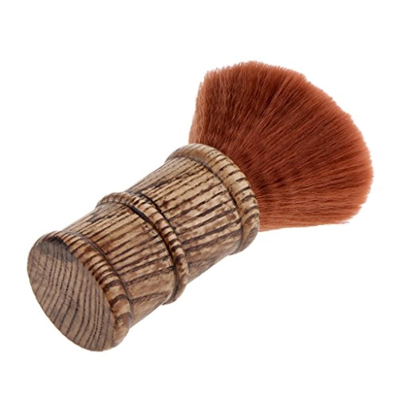 健康的合法取り付けヘアカット ブラシ ネックダスターブラシ 散髪ブラシ 柔らかい フェイスブラシ 2色選べる - 褐色