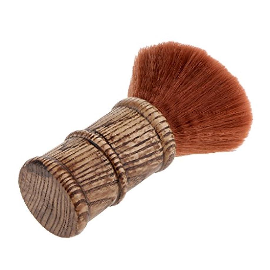 狼教科書移動するネックダスターブラシ ヘアカットブラシ ヘアカット 散髪 ブラシ プロ サロン 柔らかい 清掃 2色選べる - 褐色