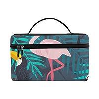 GXMAN メイクボックス コスメ収納 化粧品収納ケース 大容量 収納ボックス 化粧品入れ 化粧バッグ 旅行用 メイクブラシバッグ 化粧箱 持ち運び便利 プロ用 パームの葉の下にフラミンゴ
