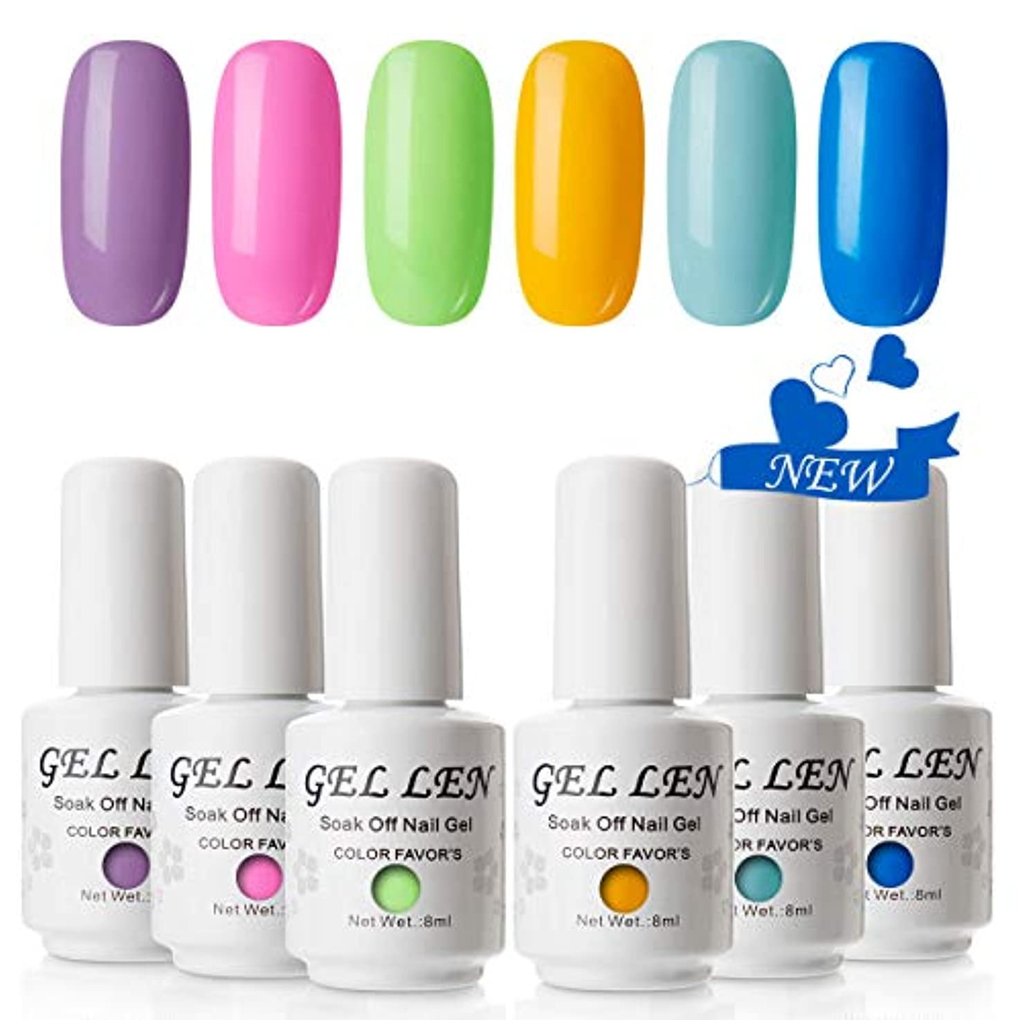 フラフープ動的簡単にGellen 透心瓶 ジェルネイル カラー 6色セット 8ml UV・LED ポリッシュタイプ カラージェル ポップ ネオン カラフル ネイルアート