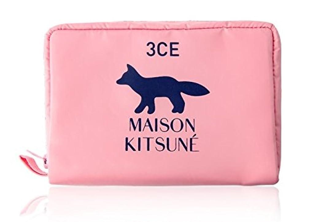 透ける線形チェスをする3CE MAISON KITSUNE POUCH #PINK ポーチ ピンク