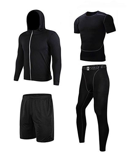 コンプレッションウェア 4点セット 長袖シャツ スポーツ トレーニング ブラック M