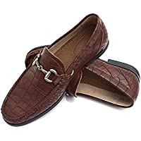 Easy Strider Men's Loafer Shoes - Premium Alligator Material- Faux Leather Lined - Elegant Silver Metal Buckle - Perfect Business Dress Shoe for Men Or Casual Slip-On Loafer for Daily Wear