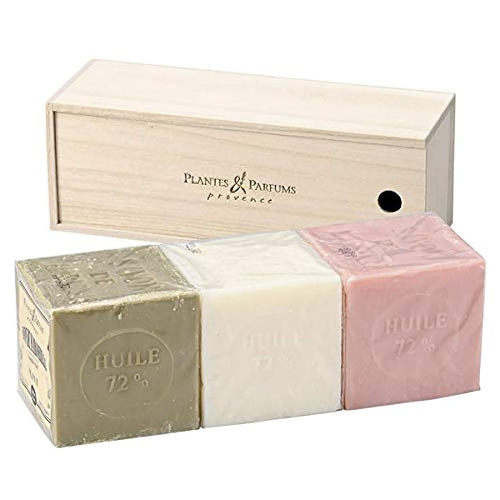 真実に静けさ四分円Plantes&Parfums [プランツ&パルファム] マルセイユソープ400gセット[木箱] O&N&R