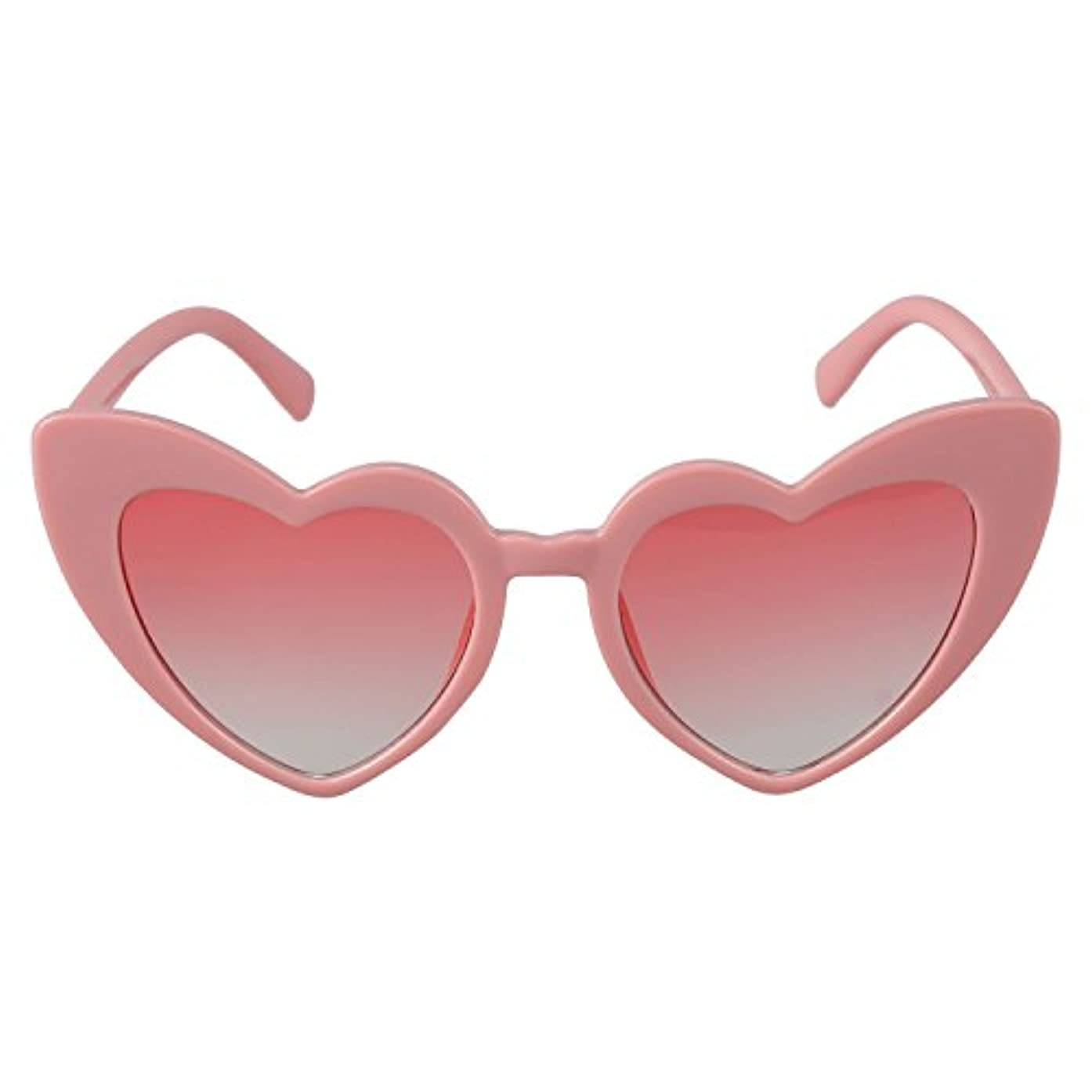 矩形仮定する喉が渇いたJVSISM ハートサングラス女性小さなハート型サングラスレディースファッション眼鏡S17070ピンクの枠+ピンク
