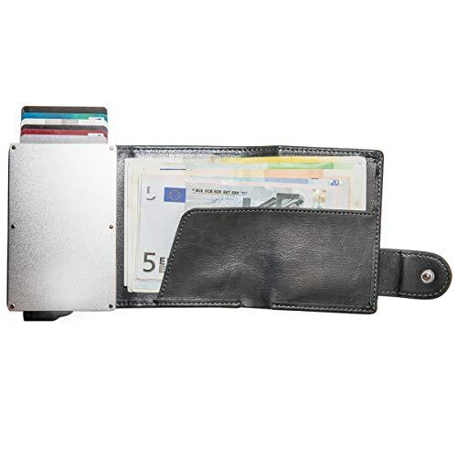 CARDHODA スライド式 ウォレット カードケース 5枚収納 アルミニウム PU レザー (グレー)