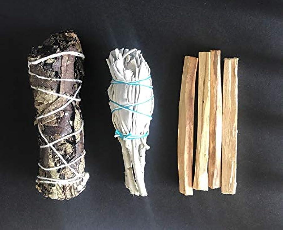 時計定常どう?カリフォルニア ホワイト セージ パロサント 4本 Yerba サンタスマッジ 3パック バンドル