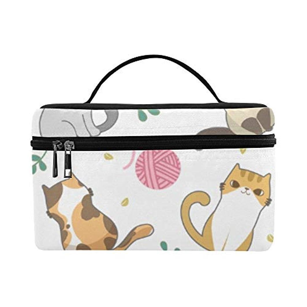 印象的白鳥椅子GGSXD メイクボックス かわいい動物の猫の家族 コスメ収納 化粧品収納ケース 大容量 収納ボックス 化粧品入れ 化粧バッグ 旅行用 メイクブラシバッグ 化粧箱 持ち運び便利 プロ用