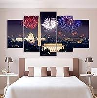 Jason Ming モジュラーキャンバス絵画家の装飾5パネル花火アメリカシティナイト風景Hdプリント写真ポスターウォールアートフレーム