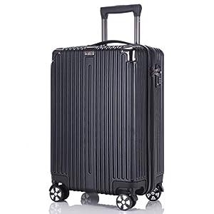 レーズ(Reezu) スーツケース ファスナー 軽量 キャリーケース ジッパー 耐衝撃 キャリーケース 機内持込 キャリーバッグ 人気 大型 TSAロック付 静音 旅行出張 1年保証 アップグレード版 ブラック Black Sサイズ 約38L