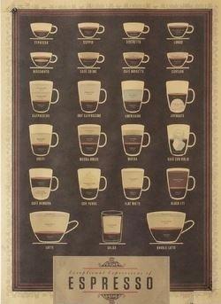 ビンテージ風 カフェの 装飾に coffee エスプレッソ ポスター 53×38cm 2枚セット