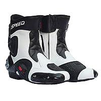 SPEED BIKERS メンズ オートバイ靴 バイク靴 バイク用レーシングブーツ ライディングシューズ レーシングブーツ プロテクトスポーツブーツ サイズ42(約2626.5CM) ホワイト