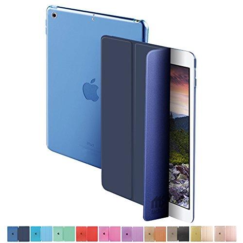 MS factory 新型 iPad 9.7 2017 スマート カバー バック ケース 一体型 オートスリープ 新iPad ( 第5世代 ) スタンド ケースカバー 全10色 ダーク ネイビー 青 IPD-5-SMART-NV
