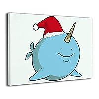 クリスマス ナルワル サンタ ハット おかしい クリスマス ホリデー 装飾画 絵画 壁掛け アートパネル インテリア ポスター 横 玄関 木製額縁なし 部屋飾り 壁掛け式 現代 モダンアート 高品質 壁の絵 軽くて取り付けやすい 居間 背景 モダン