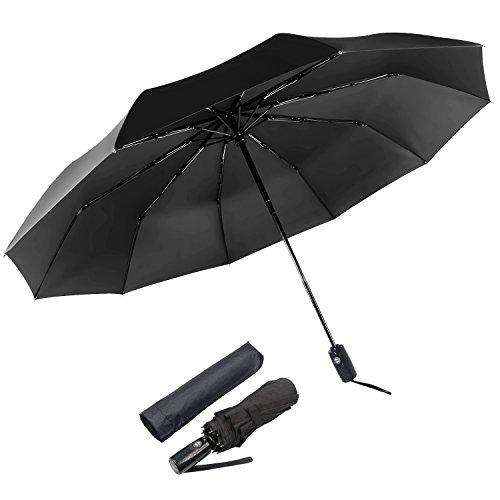Asika 折りたたみ傘 自動開閉式 頑丈な10本骨 ワンタッチ Teflon加工 210T高強度グラスファイバー 耐風撥水 UVカット 大きい 晴雨兼用 傘カバー付