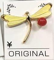 日本産 赤 珊瑚 サンゴ レディース ブローチ かわいい 蜻蛉 トンボ タイタック プレゼント 幸運 プレゼント (黄色)