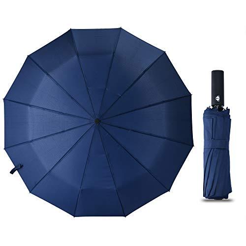 XCHMYi 折りたたみ傘 自動開閉 頑丈な12本骨 大きい メンズ傘 Teflon加工 超撥水 210T高強度グラスファイバー 耐強風 傘ケース付き 梅雨対策 晴雨兼用(ブルー、ブラック) (ブルー)