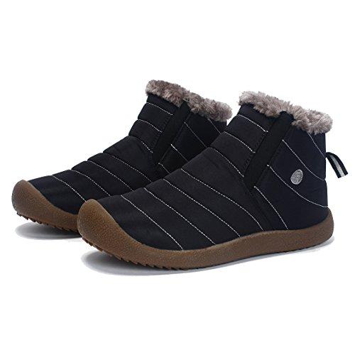 Luerman ムートンブーツ メンズ レディーススノーブーツ ショートウィンターブーツ 雪靴防寒 裏起毛 超軽量 (28, ブラック)